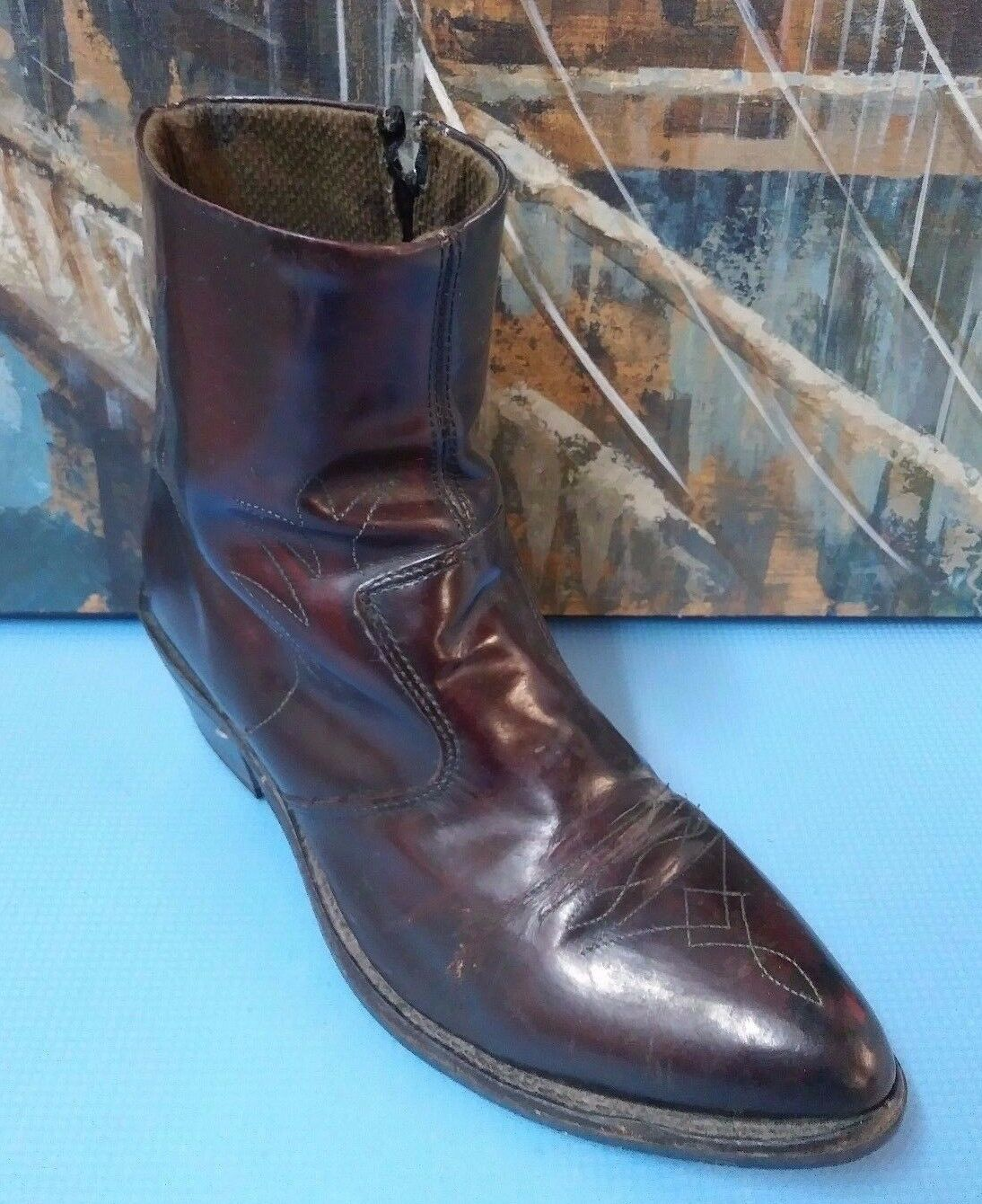 Unknown Men's Side Zip Up Leather Ankle Dress Boots Black Cherry 1952, SZ 8.5EE