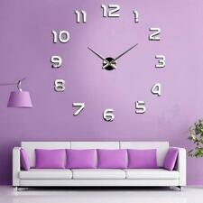Modern DIY Large Wall Clock 3D Mirror Number Surface Wall Sticker Decor Art Home