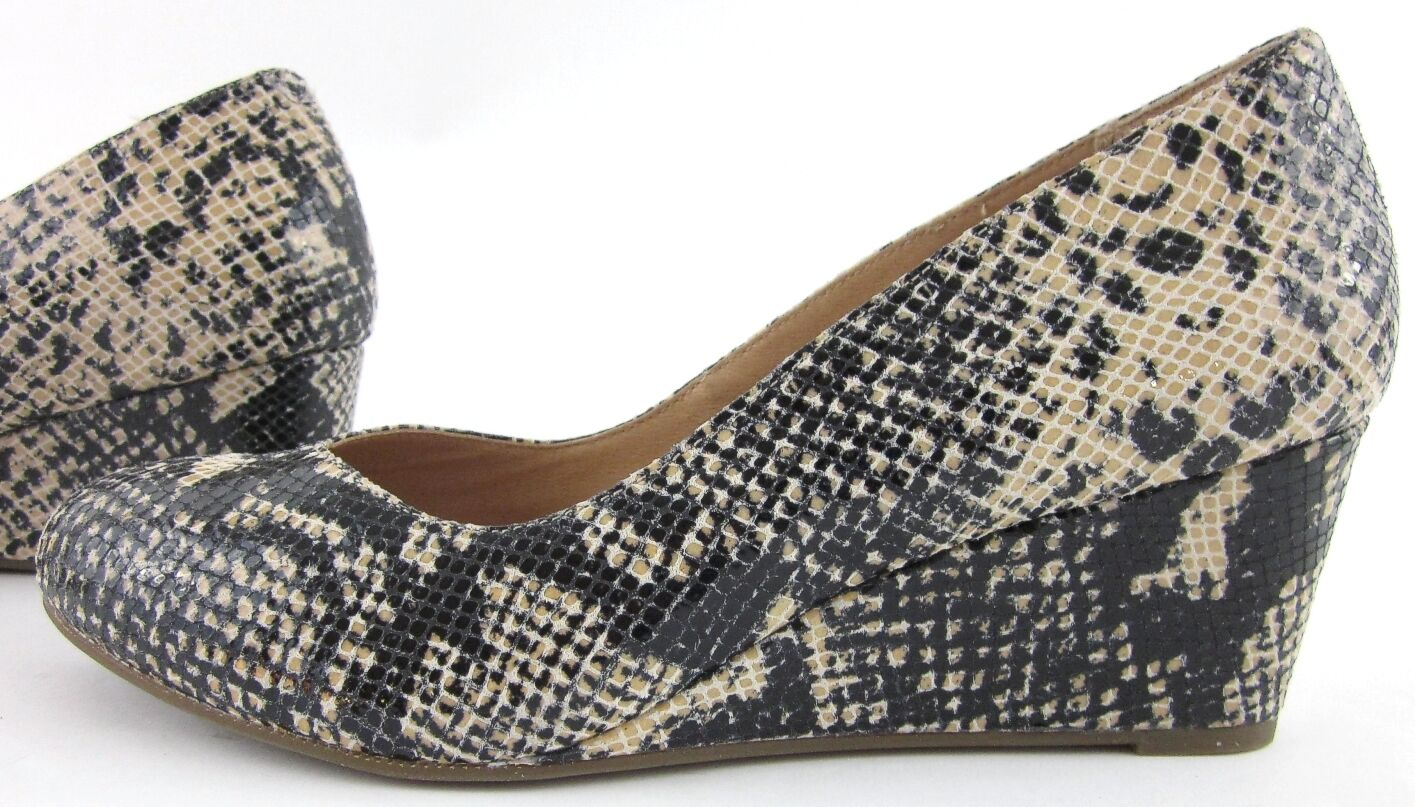 "NEW  Vionic Orthaheel ""Antonia"" Natural Wedge Pumps Sz 7 Natural ""Antonia"" Snake Embossed 551ea9"