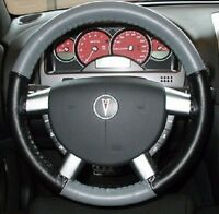 Wheelskins Leather Steering Wheel Cover Grey And Black For 2006-2010 Vw Beetle