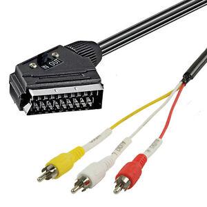 SCART-CINCH-ADAPTERKABEL-Scartstecker-auf-3-x-Cinchstecker-IN-OUT-Schalter-2-0m