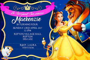 Personalised Belle Beauty and the Beast Birthday Party Invites inc
