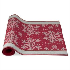Falling Snowflake Table Runner 72 X 20 Red White Christmas 100