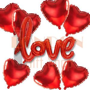 Red-Heart-Shape-Amour-Ballons-Fete-De-Mariage-St-Valentin-Pere-Jour-UK