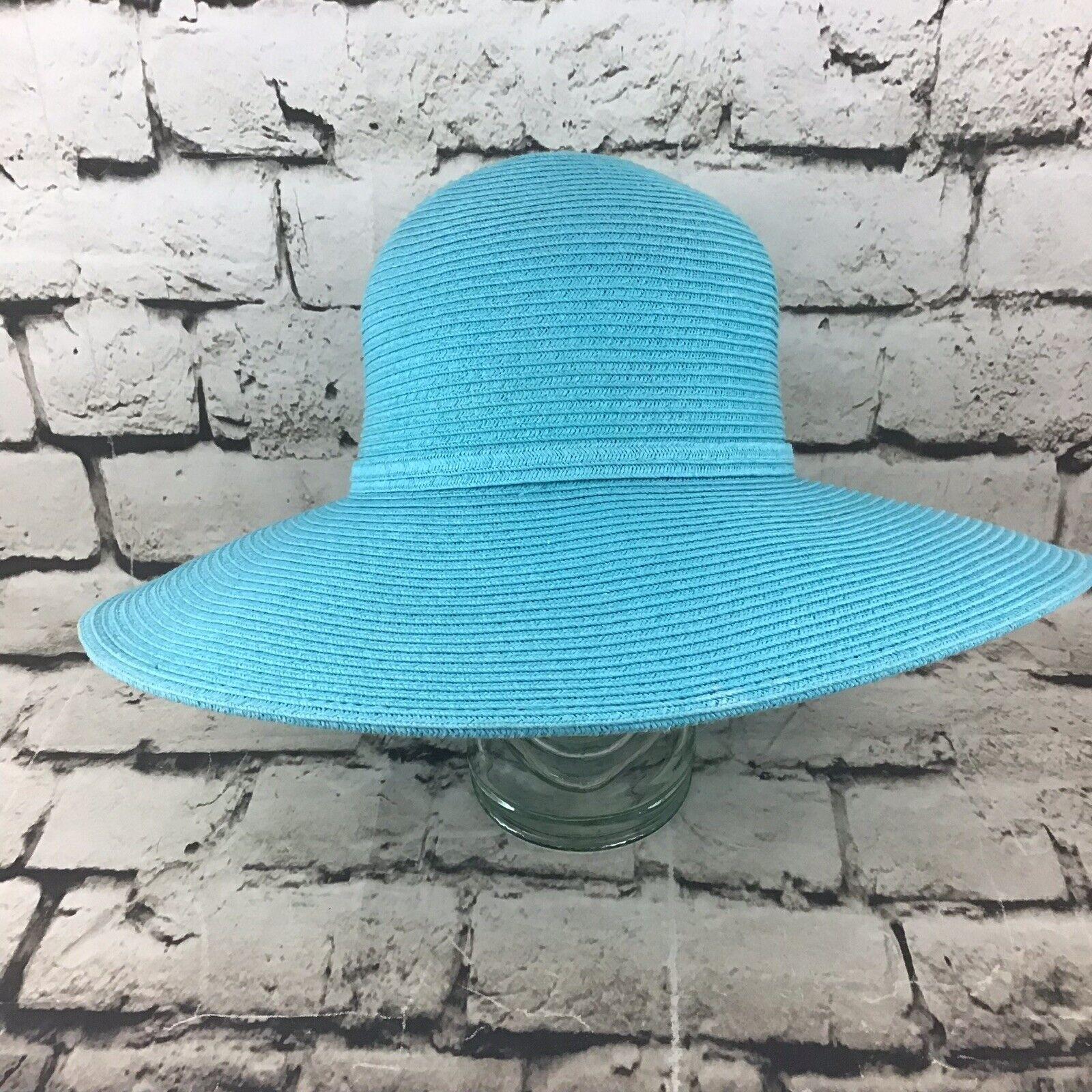 Womens OSFA Hat Sky Blue Straw Wide Brim Floppy S… - image 2