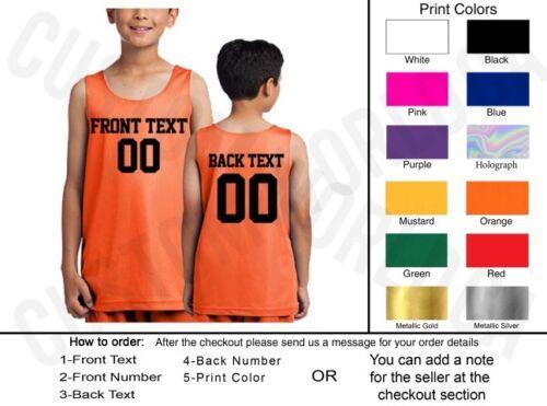 Personnalisé Youth Jersey Nom Numéro équipe Shirts Texte Personnalisé Basketball Tee