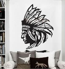Indianer Kopf Feder Wandtattoo Wallpaper Wand Schmuck 76 x 55 cm Wandbild