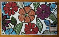 Floral Textured Kitchen Rug Mat Home Decor Flower Red Blue Orange 18x30 Rare