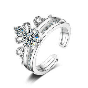 Women-039-s-925-Sterling-Silver-Charm-Natural-Zircon-Crown-Solitaire-Band-Ring
