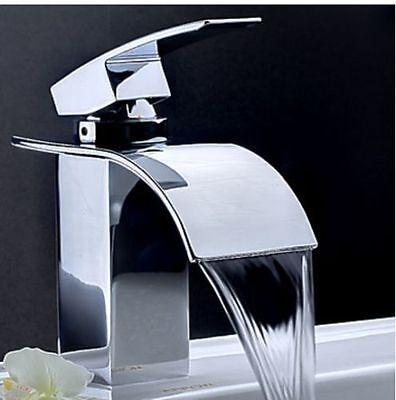 Chrome Brass Waterfall Bathroom Basin Faucet Single Handle Hole Sink Mixer Tap