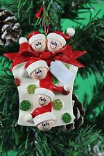 PERSONALISED CHRISTMAS TREE DECORATION  ORNAMENT GLITTER GIFT FAMILY OF 5 GIFT