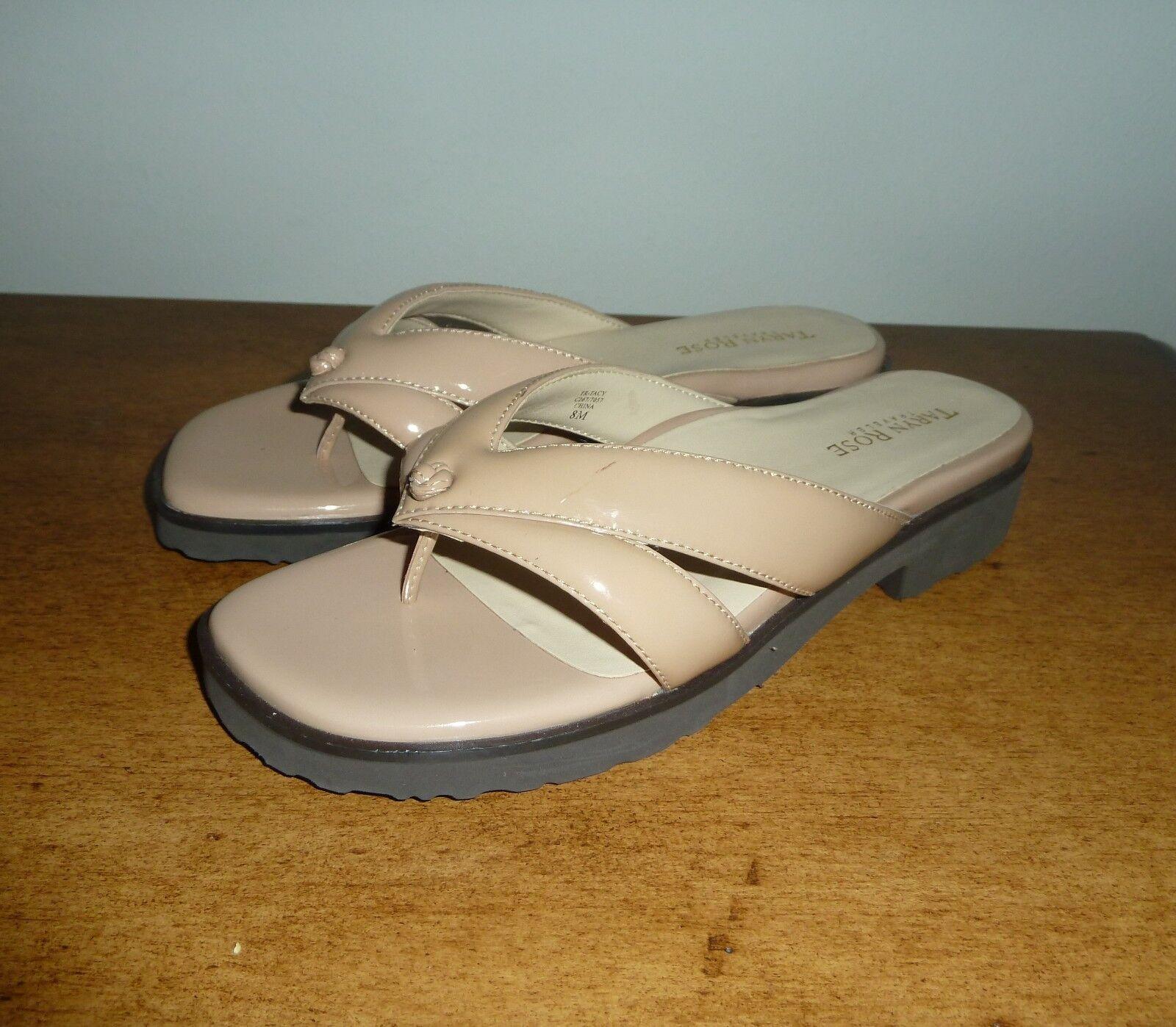 NEU Taryn Rose Tacy Leder Nutmeg Thong Sandales Choose Größe