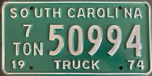 1974 South Carolina American TRUCK License USA Licence Number Plate Tag 50994