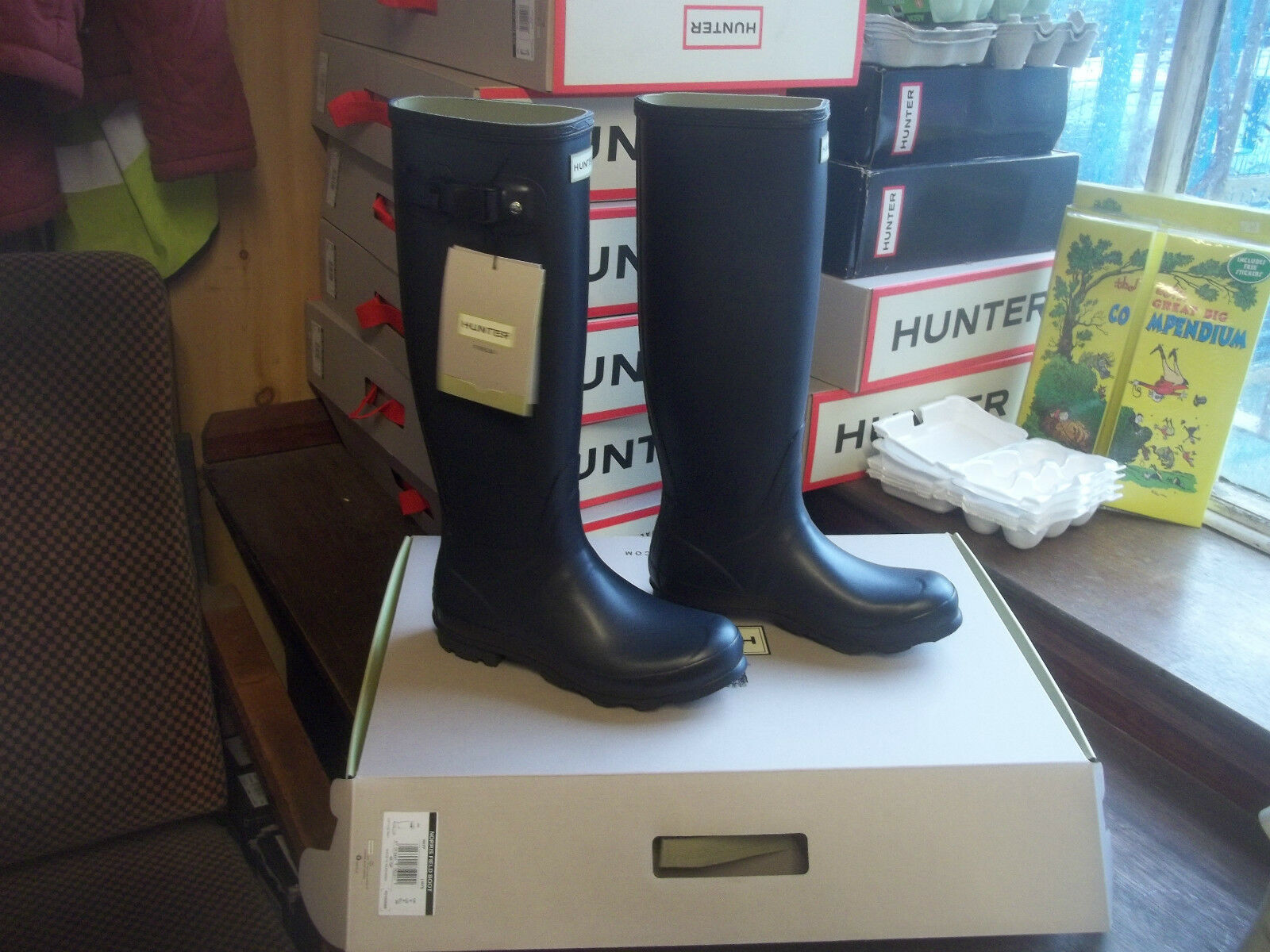 NAVY BLUE NORRIS HUNTER WELLINGTONS  IN HALIFAX SIZE 7  LADIES. WOMENS TALL