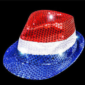 9a9f3caea0e LED PATRIOTIC FEDORA Light up Sequin Hat Party 4th of July Accessory ...