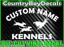CUSTOM Dog KENNELS Vinyl DECAL Sticker Hunt Hunting Coon Deer Diesel Truck Car B