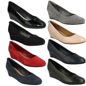 Detalles de Vendra Bloom Clarks Mujer ante Piel sin Cordones Cuña Oficina Smart Zapatos de