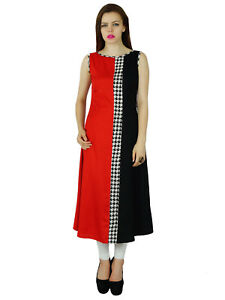 Bimba-Women-Black-amp-Red-Rayon-Kurta-Long-Kurti-Indian-Tunic-Blouse-Sleeveless
