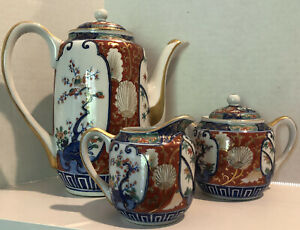 Imari-Arita-Antique-HP-Coffee-Tea-Pot-Set-with-Creamer-amp-Sugar-Bowl-Gold-Trim