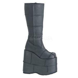 Demonia STACK-301 Vegan Boots Black Vegan Leather Mid Calf Punk Platforms