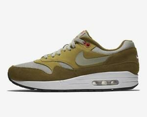 Mens Nike Atmos Air Max 1 Curry Olive Flak Peat Moss Habanero Red ... bc4edeb16