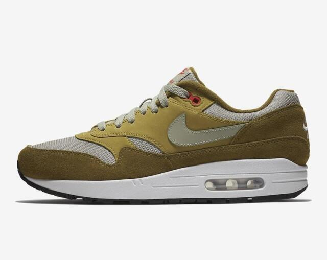 Mens Nike Atmos Air Max 1 Curry Olive Flak Peat Moss Habanero Red 908366 300