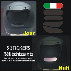 5-Stickers-NOIRS-RETRO-REFLECHISSANTS-pour-CASQUE-mod-11-ITALIE-Ducati