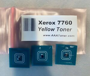 YELLOW  TONER CHIPS FOR XEROX PHASER 7760 7760DN 7760DX 7760GX Ships from USA