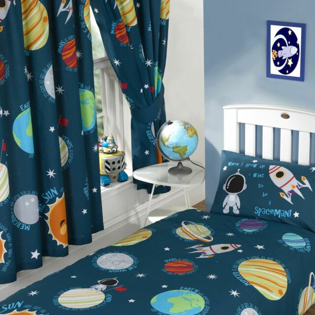 "SOLAR SYSTEM SPACEMAN 66"" x 54"" LINED CURTAINS WITH TIE BACKS matches duvet"