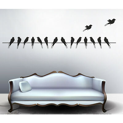 7204 | Wall Stickers Beautiful Long Tail Birds on Wire