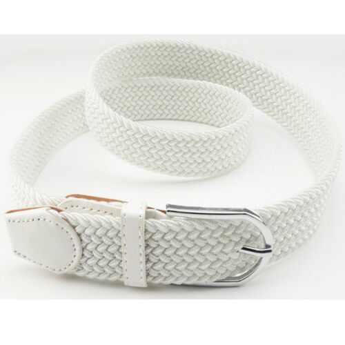 Men Classic Silver Buckle Belt Canvas Military Braided Elastic Jeans Waistband