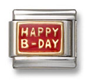 Italian-Charm-Bracelet-Link-Happy-B-Day-Red-Enamel-9mm-Stainless-Steel-18K