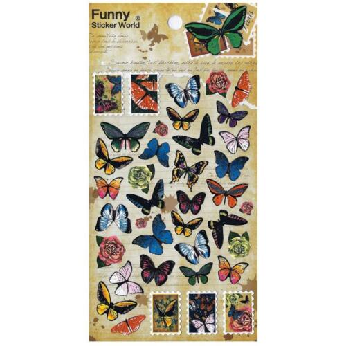 ✰ CUTE BUTTERFLY STICKERS Sheet Insect Korean Paper Kid Craft Scrapbook Sticker
