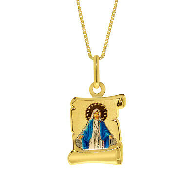 14k Yellow Gold Virgen Milagrosa Pendant with 0.8-mm Square Wheat Chain