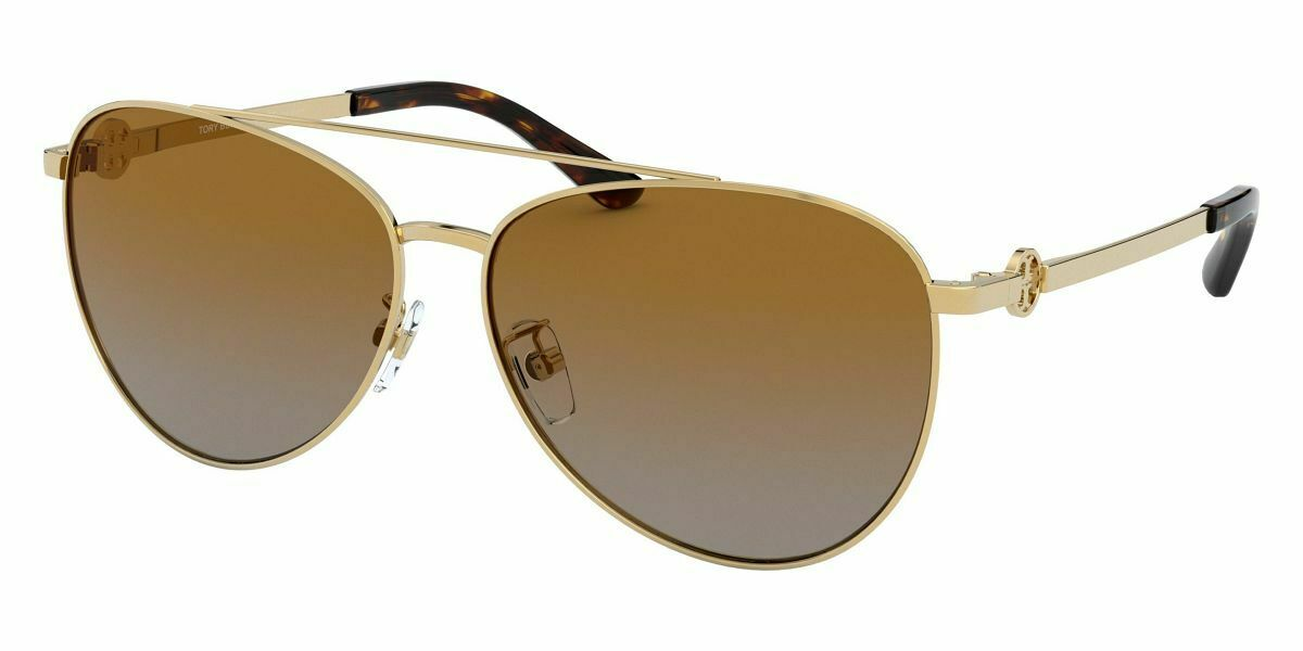 Tory Burch TY6074 Sunglasses, Shiny Gold Metal Pilot 58mm *New & Authentic