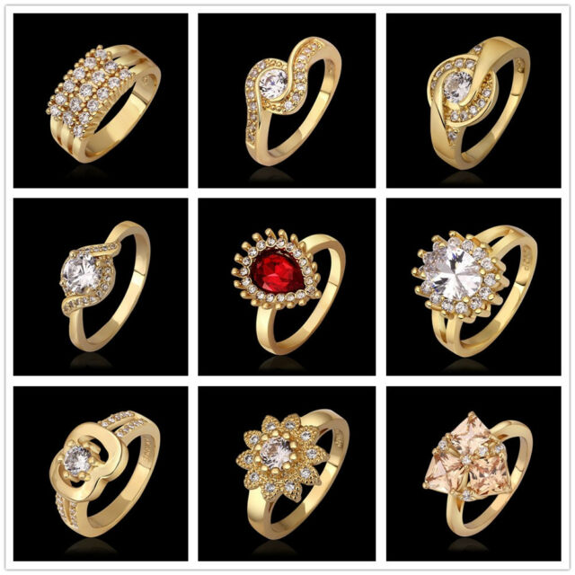 Wholesale Fashion Silver Gold Rose Zircon Stone Ring Mens Ladys JEWELRY GIFT