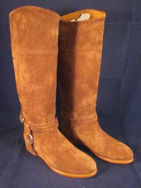 RALPH LAUREN Women Leather Riding Boots Sage Coffee Suede 38.5B 8B/8.5B NEW BOX