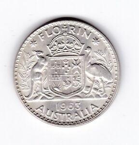 1963 Silver Florin Coin Queen Elizabeth 11 Australia  U-478