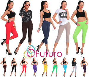 Cropped-3-4-Length-Cotton-Leggings-All-Sizes-8-20-Multicolours-Uk-Stock