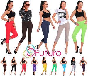 Cropped-3-4-Length-Cotton-Leggings-All-Sizes-8-20-Multicolours-Uk-Stock