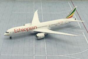 "NG model 1/400 Ethiopian Airlines Boeing 787-9 ET-AUP 55063 ""London"" metal model"