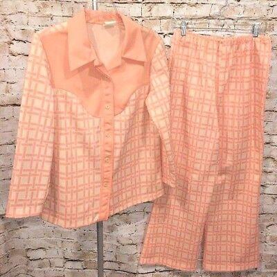 100% Vero Vintage 70s Donna Poliestere Larghezza Collare Inferiore Pesca Plaid Tuta L Xl