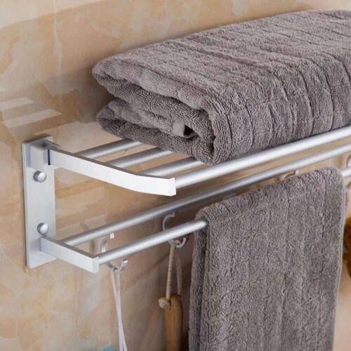 2-Tier Bathroom Towel Rack Holder Wall Mount Rail Hotel Toilet Shower Organizer