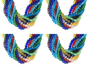 Faceted-Rondelle-Crystal-ABACUS-Glass-Beads-CHOOSE-COLOUR-Jewellery-Making