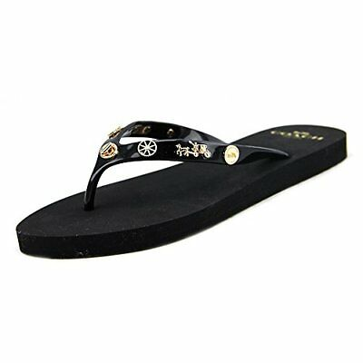 NEW COACH Womens Alyssa Charms Slip On Open Toe Flat Thong Flip Flops Retail $65 | eBay