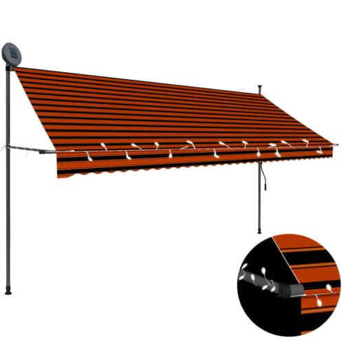 vidaXL Markise Einziehbar Handbetrieben LED 350cm Orange Braun Klemmmarkise