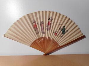 Intelligent Eventail Ancien Japonais Décor Peint Personnage Danseuse Japonaise Japon