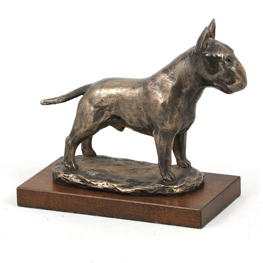 Bull Terrier - busto statua di cane su base di legno, Art Dog IT