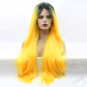 Fashion-hair-Black-root-neon-yellow-ombre-Women-long-wavy-wig-Lace-Front-Wigs