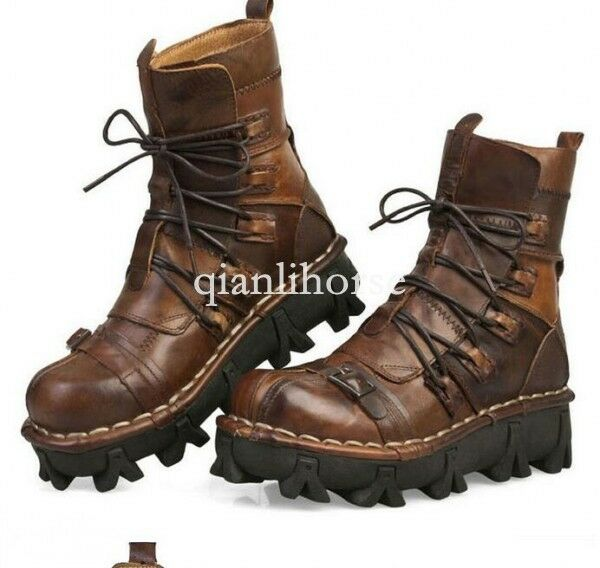 Punk Rock Leather Mens Lace Up Combat Ankle stivali Buckle Gothic Motor scarpe TOPS